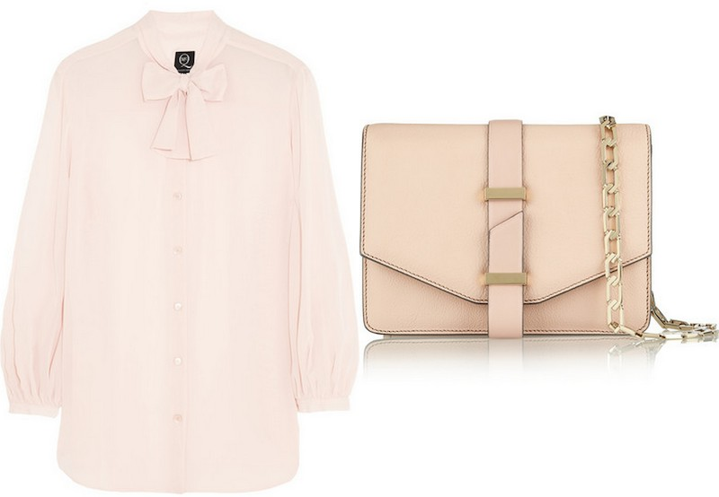 MCQ ALEXANDER MCQUEEN, Pussy-bow georgette blouse, £265; VICTORIA BECKHAM, Textured-leather mini satchel, £1,295